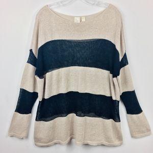 Eileen Fisher Striped Linen Open Knit Sweater